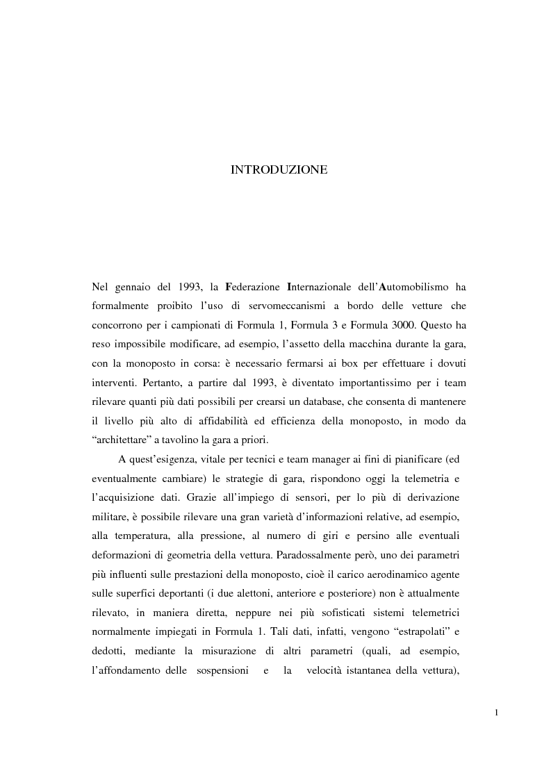 Anteprima della tesi: Bilancia estensimetrica sull'ala anteriore di una vettura di Formula 3, Pagina 1