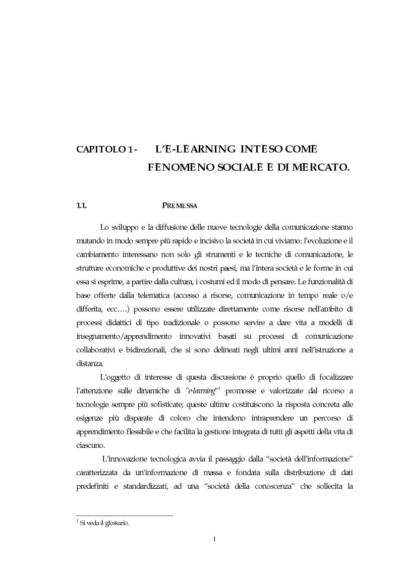 Anteprima della tesi: Teorie, modelli e sviluppi del mercato a livello internazionale e nazionale riguardanti processi di e-learning, Pagina 1
