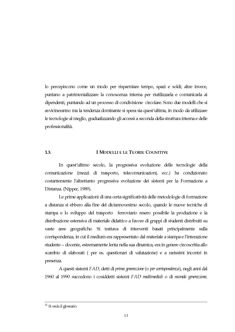 Anteprima della tesi: Teorie, modelli e sviluppi del mercato a livello internazionale e nazionale riguardanti processi di e-learning, Pagina 13