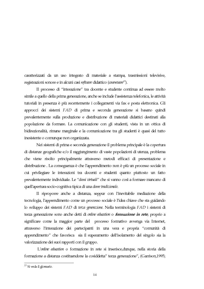 Anteprima della tesi: Teorie, modelli e sviluppi del mercato a livello internazionale e nazionale riguardanti processi di e-learning, Pagina 14