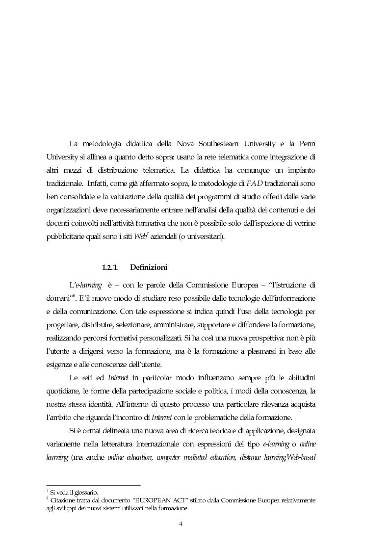 Anteprima della tesi: Teorie, modelli e sviluppi del mercato a livello internazionale e nazionale riguardanti processi di e-learning, Pagina 4