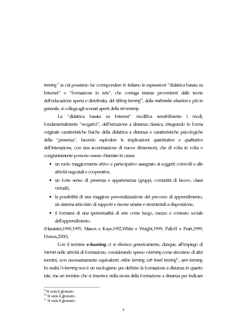 Anteprima della tesi: Teorie, modelli e sviluppi del mercato a livello internazionale e nazionale riguardanti processi di e-learning, Pagina 5
