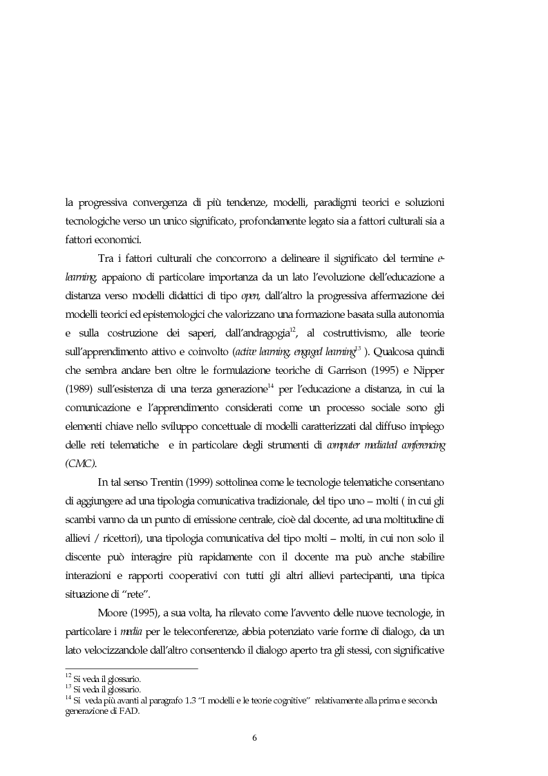 Anteprima della tesi: Teorie, modelli e sviluppi del mercato a livello internazionale e nazionale riguardanti processi di e-learning, Pagina 6