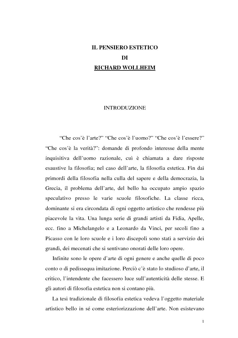 Anteprima della tesi: Il pensiero estetico di R. Wollheim, Pagina 1