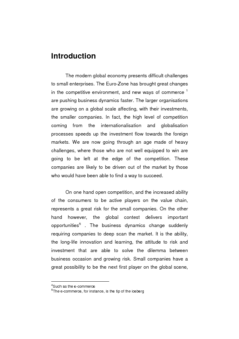 Anteprima della tesi: The process of internationalisation of small and medium sized enterprises: the Italian case of the 'Consortium to promote exports' and the existing instruments for Welsh small companies, Pagina 1