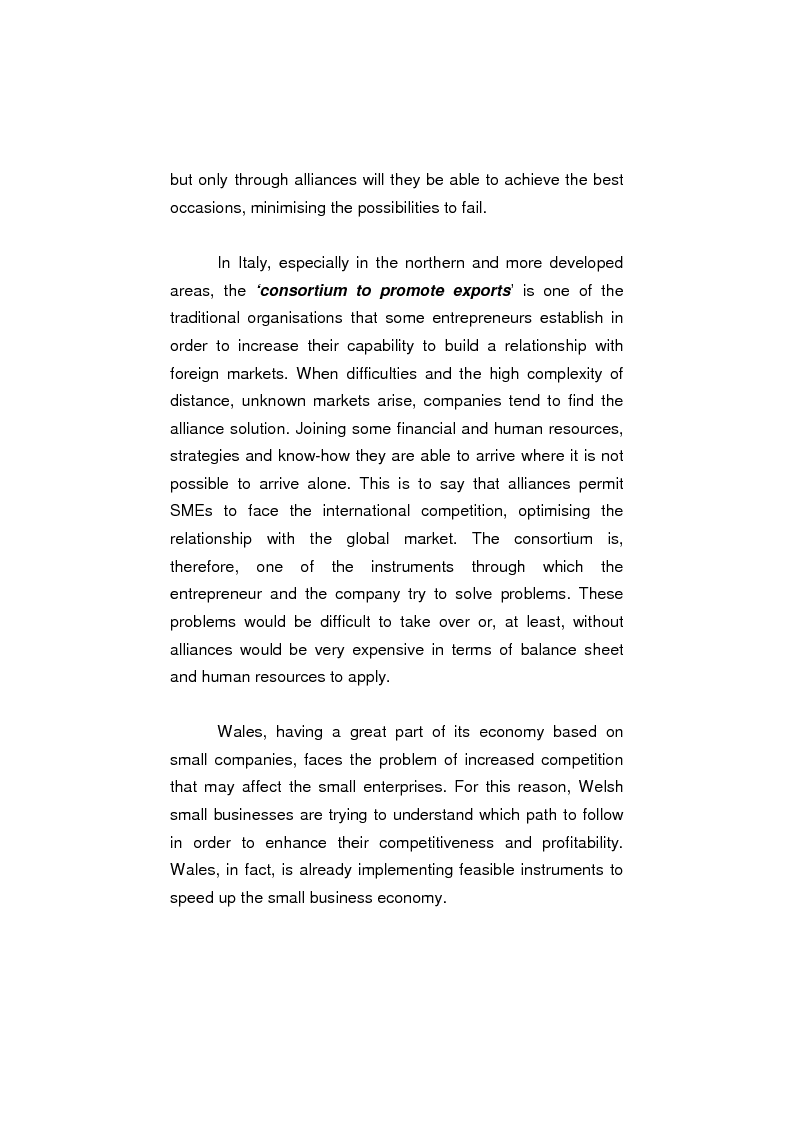 Anteprima della tesi: The process of internationalisation of small and medium sized enterprises: the Italian case of the 'Consortium to promote exports' and the existing instruments for Welsh small companies, Pagina 2