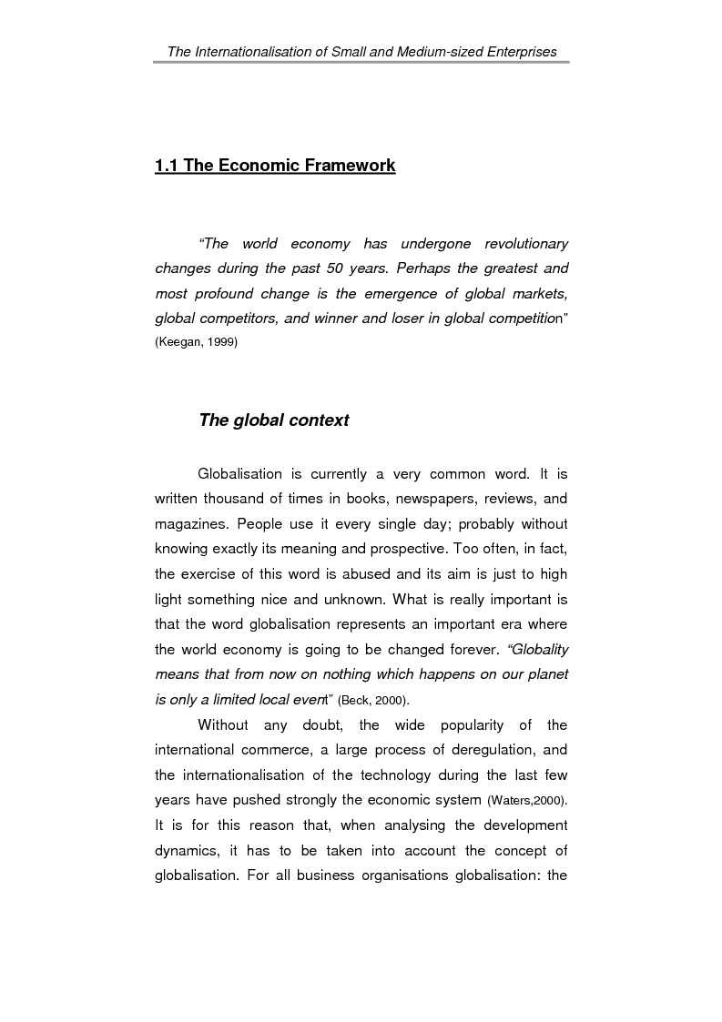 Anteprima della tesi: The process of internationalisation of small and medium sized enterprises: the Italian case of the 'Consortium to promote exports' and the existing instruments for Welsh small companies, Pagina 5