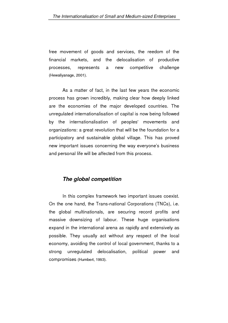 Anteprima della tesi: The process of internationalisation of small and medium sized enterprises: the Italian case of the 'Consortium to promote exports' and the existing instruments for Welsh small companies, Pagina 6