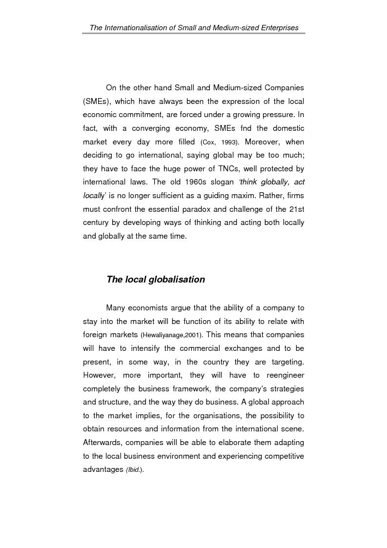 Anteprima della tesi: The process of internationalisation of small and medium sized enterprises: the Italian case of the 'Consortium to promote exports' and the existing instruments for Welsh small companies, Pagina 7
