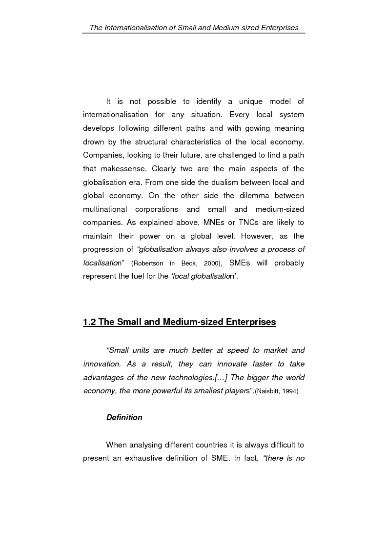 Anteprima della tesi: The process of internationalisation of small and medium sized enterprises: the Italian case of the 'Consortium to promote exports' and the existing instruments for Welsh small companies, Pagina 8