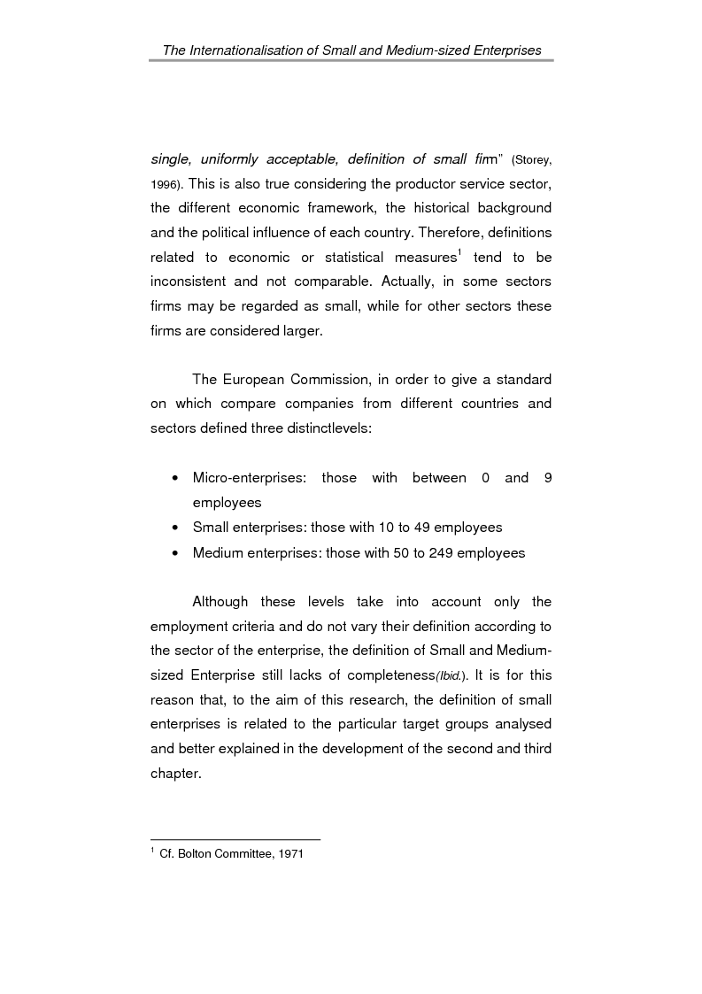 Anteprima della tesi: The process of internationalisation of small and medium sized enterprises: the Italian case of the 'Consortium to promote exports' and the existing instruments for Welsh small companies, Pagina 9