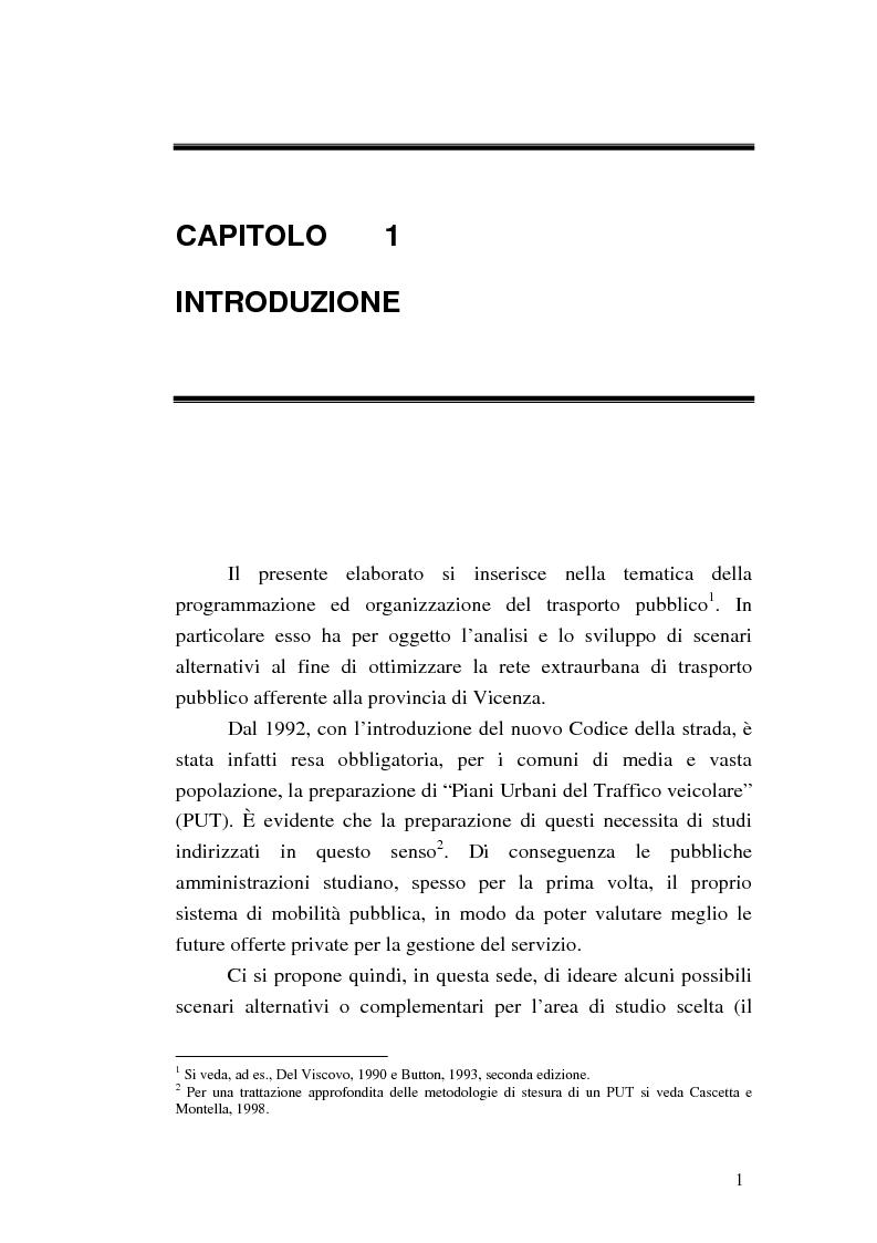 Anteprima della tesi: Costruzione di scenari per il trasporto pubblico nel Vicentino, Pagina 1