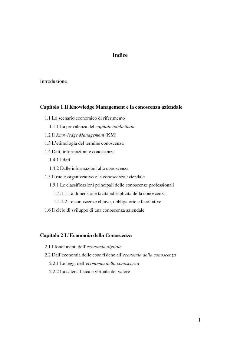 Indice della tesi: Le nuove determinanti dell'organizzazione aziendale: il modello Knowledge Management, Pagina 1