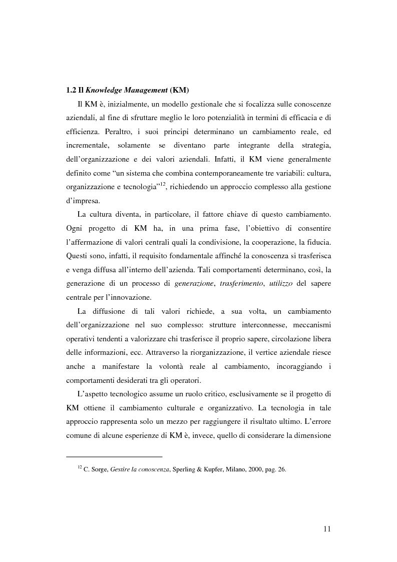 Anteprima della tesi: Le nuove determinanti dell'organizzazione aziendale: il modello Knowledge Management, Pagina 11