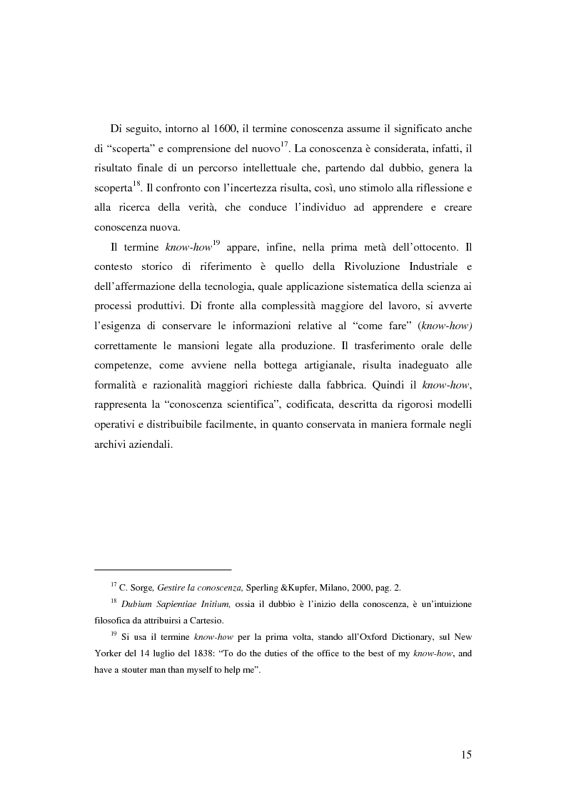Anteprima della tesi: Le nuove determinanti dell'organizzazione aziendale: il modello Knowledge Management, Pagina 15