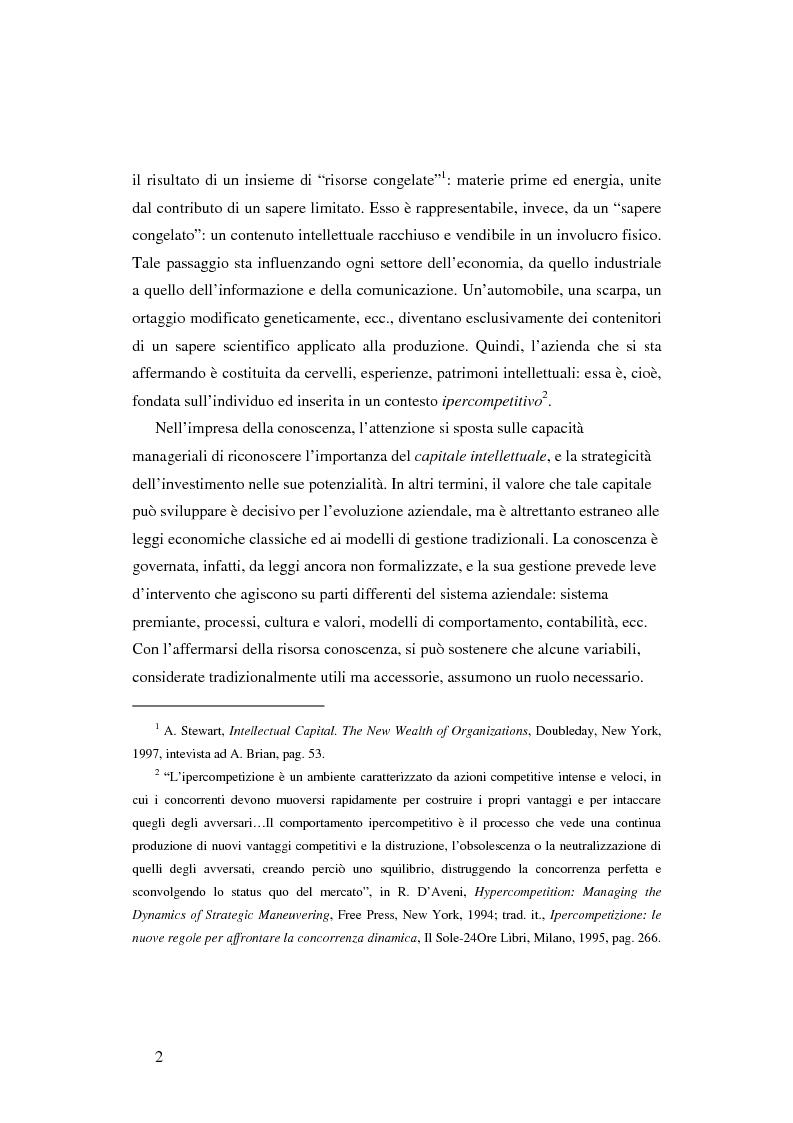 Anteprima della tesi: Le nuove determinanti dell'organizzazione aziendale: il modello Knowledge Management, Pagina 2