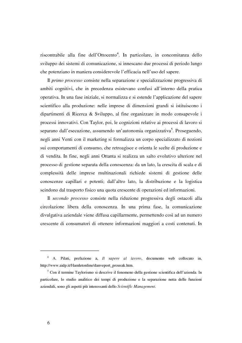 Anteprima della tesi: Le nuove determinanti dell'organizzazione aziendale: il modello Knowledge Management, Pagina 6