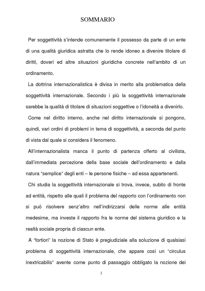 Anteprima della tesi: La responsabilità per gli illeciti delle organizzazioni internazionali, Pagina 1