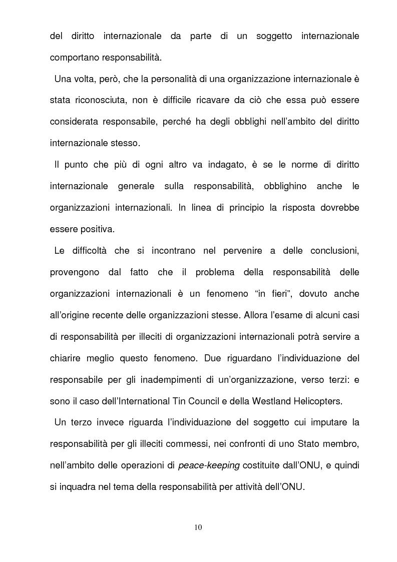 Anteprima della tesi: La responsabilità per gli illeciti delle organizzazioni internazionali, Pagina 10