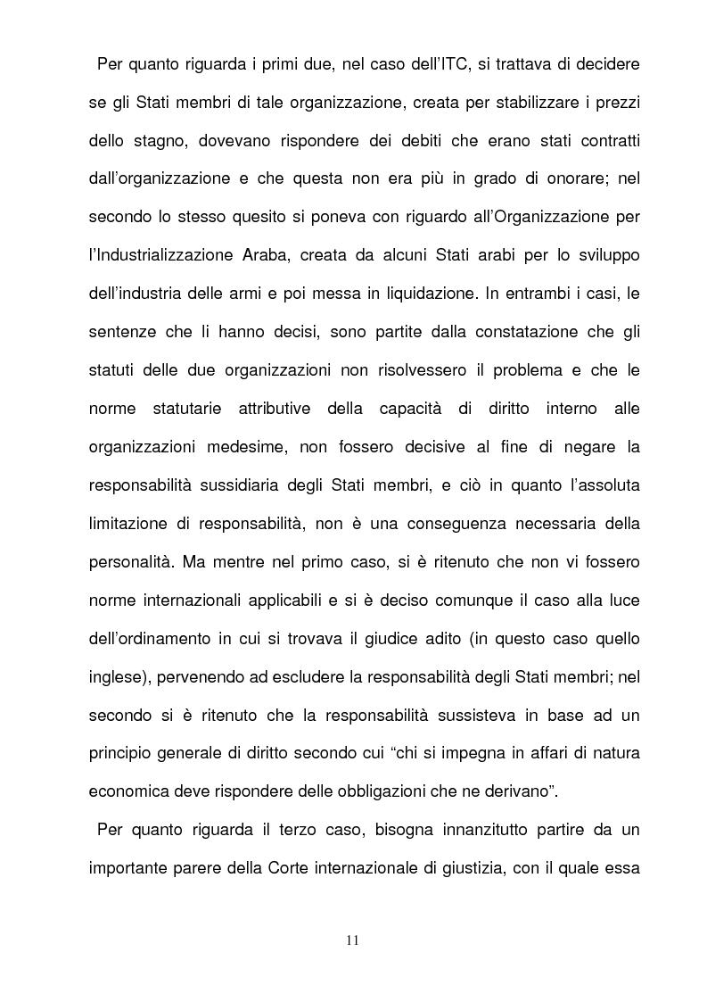 Anteprima della tesi: La responsabilità per gli illeciti delle organizzazioni internazionali, Pagina 11