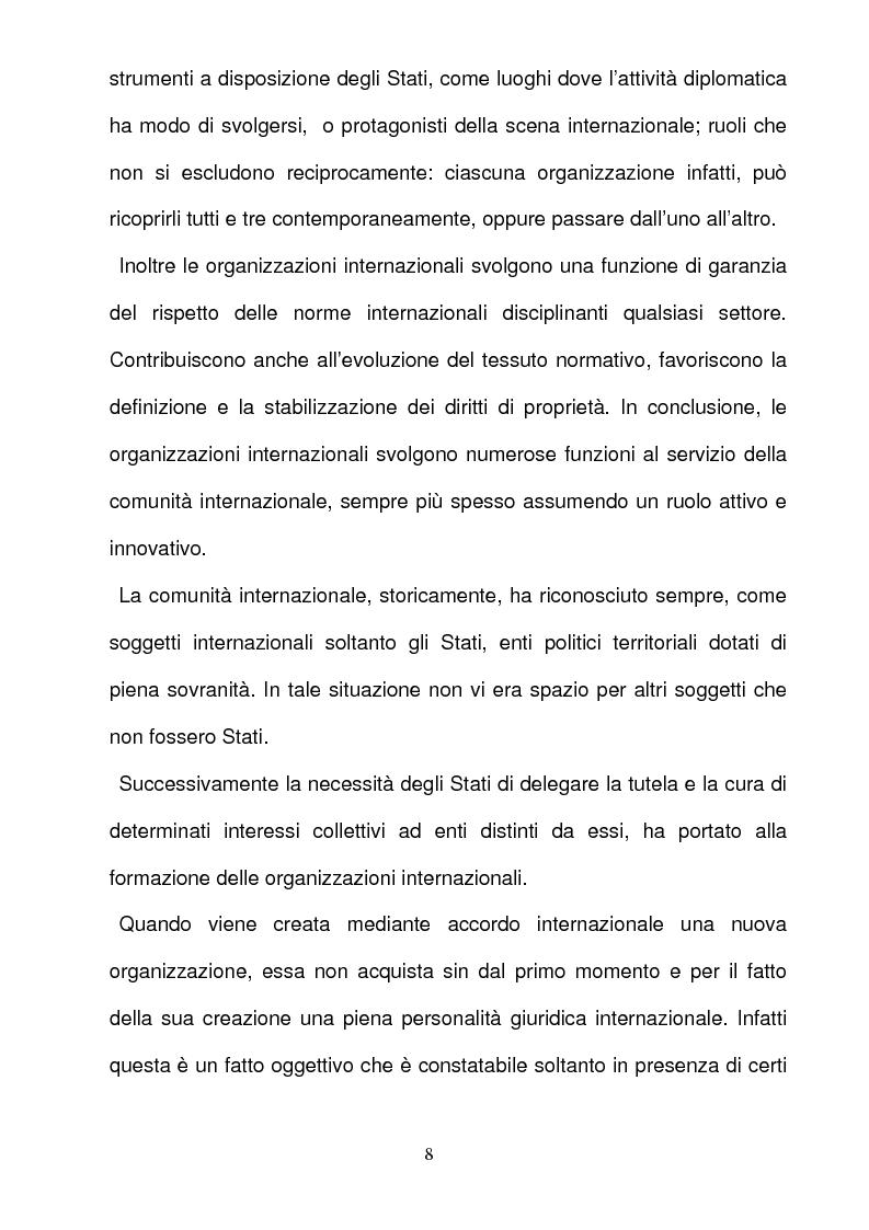 Anteprima della tesi: La responsabilità per gli illeciti delle organizzazioni internazionali, Pagina 8