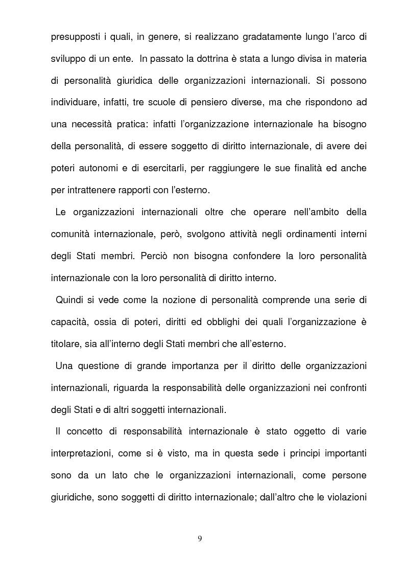 Anteprima della tesi: La responsabilità per gli illeciti delle organizzazioni internazionali, Pagina 9