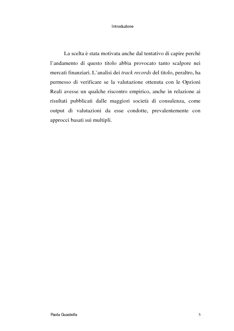 Anteprima della tesi: Le opzioni reali: un approccio per la valutazione di aziende che operano in contesti di elevata incertezza, Pagina 5