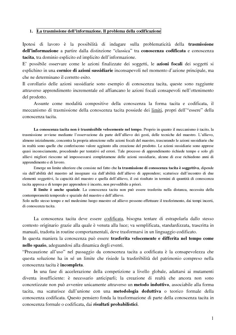Anteprima della tesi: La creazione e lo sviluppo della conoscenza nell'impresa - L'informazione come risorsa strategica - Note metodologiche, Pagina 1