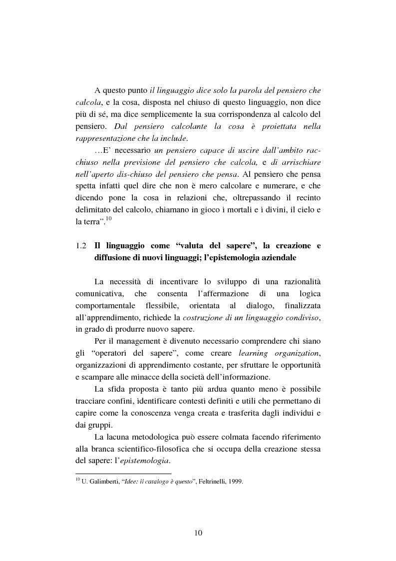 Anteprima della tesi: La creazione e lo sviluppo della conoscenza nell'impresa - L'informazione come risorsa strategica - Note metodologiche, Pagina 15