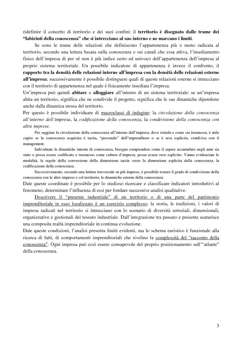 Anteprima della tesi: La creazione e lo sviluppo della conoscenza nell'impresa - L'informazione come risorsa strategica - Note metodologiche, Pagina 3