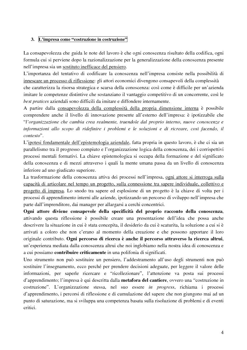 Anteprima della tesi: La creazione e lo sviluppo della conoscenza nell'impresa - L'informazione come risorsa strategica - Note metodologiche, Pagina 4