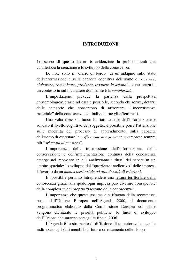 Anteprima della tesi: La creazione e lo sviluppo della conoscenza nell'impresa - L'informazione come risorsa strategica - Note metodologiche, Pagina 6