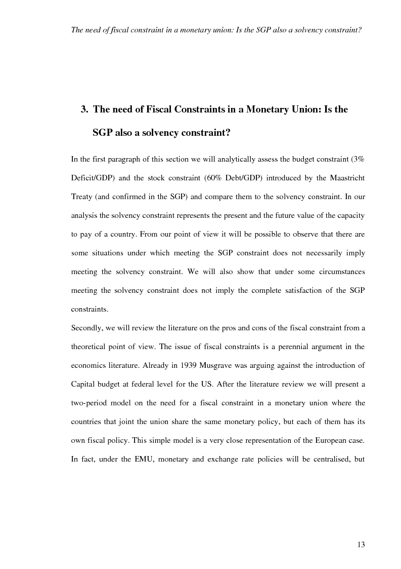 Anteprima della tesi: Fiscal Rules in European Monetary Union: a Comparison between Stability and Growth Pact and the Golden Rule, Pagina 10