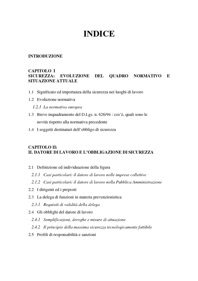 Indice della tesi: I soggetti predisposti all'obbligo di attuazione della sicurezza nel D. Lgs. n. 626/94, Pagina 1