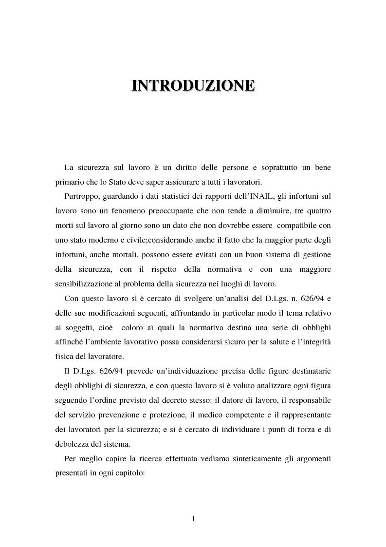 Anteprima della tesi: I soggetti predisposti all'obbligo di attuazione della sicurezza nel D. Lgs. n. 626/94, Pagina 1