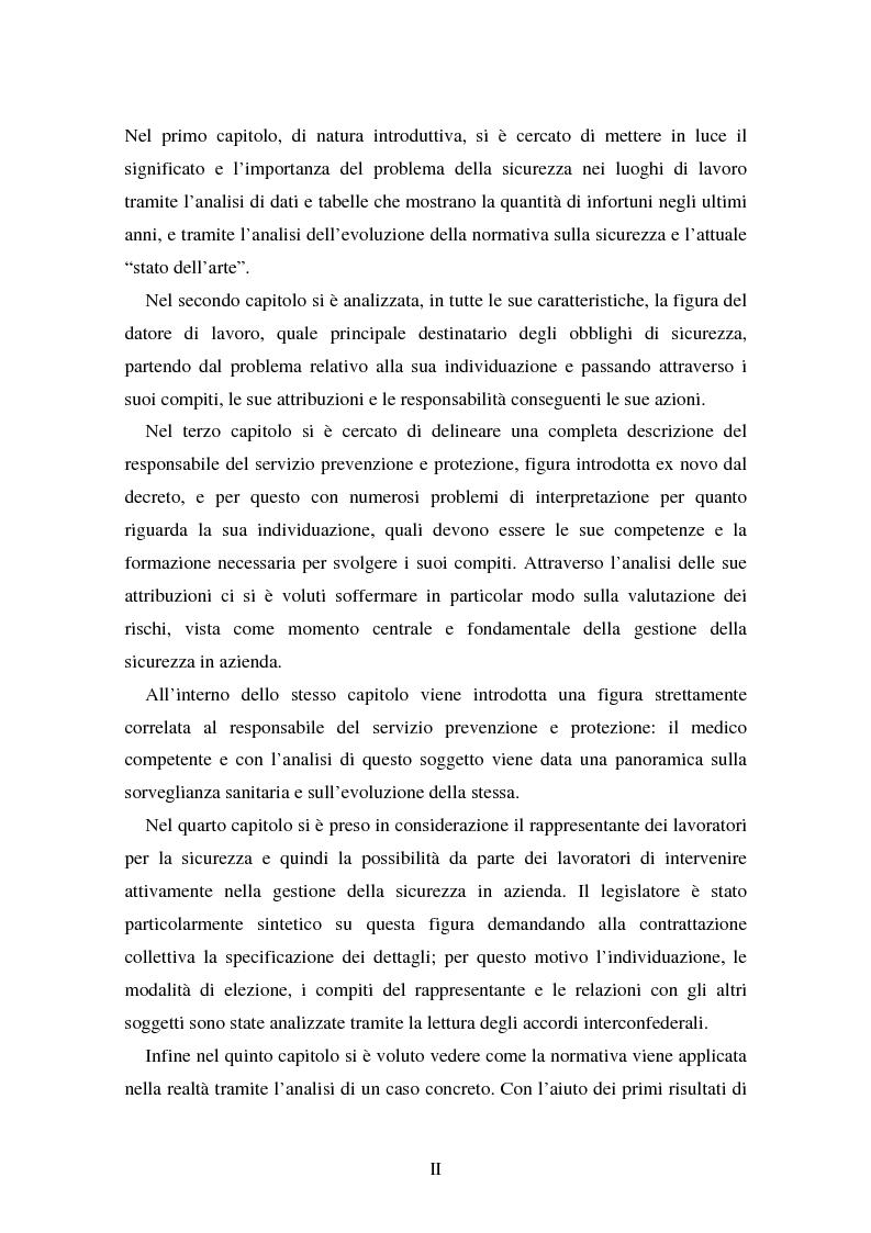 Anteprima della tesi: I soggetti predisposti all'obbligo di attuazione della sicurezza nel D. Lgs. n. 626/94, Pagina 2