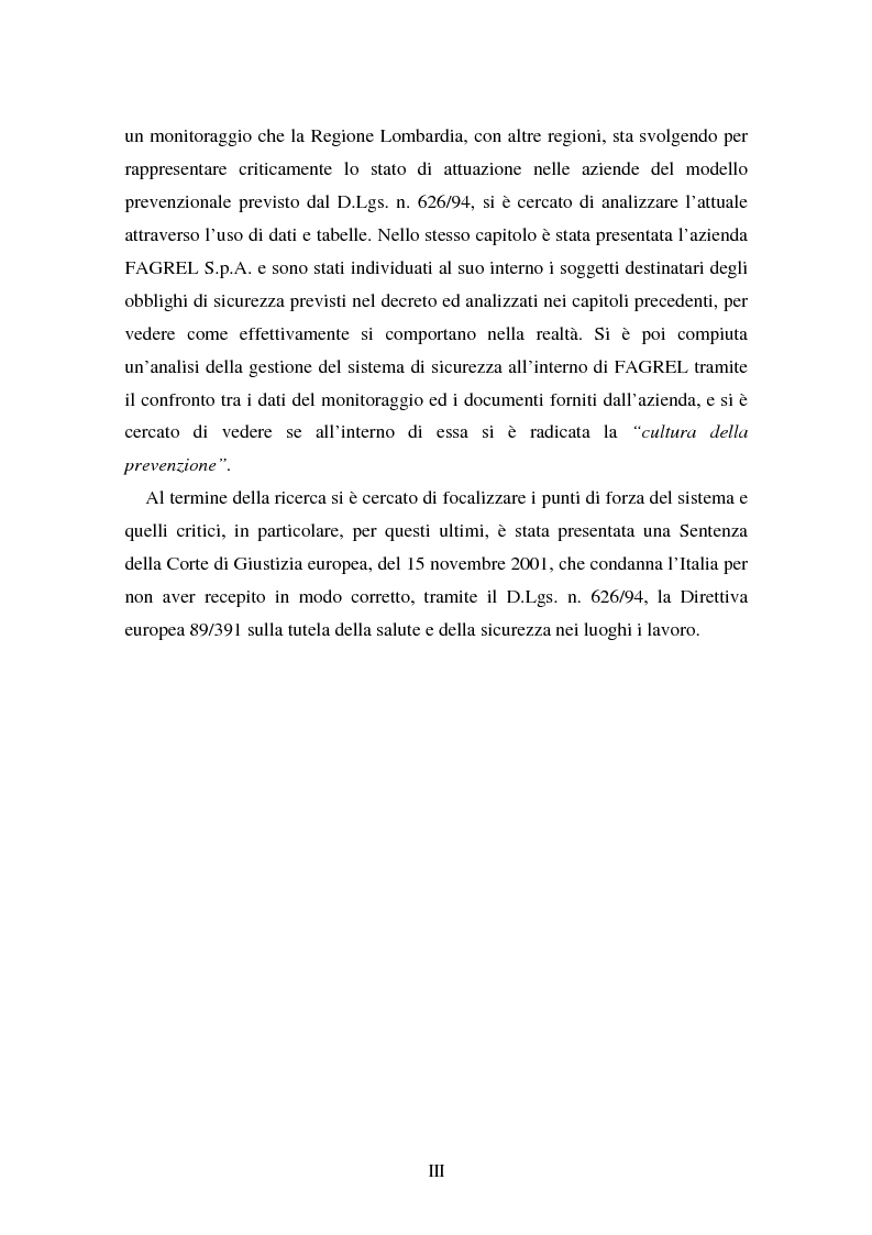 Anteprima della tesi: I soggetti predisposti all'obbligo di attuazione della sicurezza nel D. Lgs. n. 626/94, Pagina 3