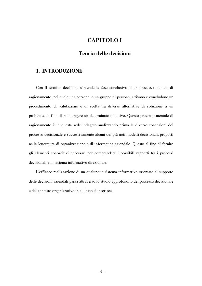 Anteprima della tesi: I sistemi di supporto alle decisioni aziendali ''Decision Support System'', Pagina 1