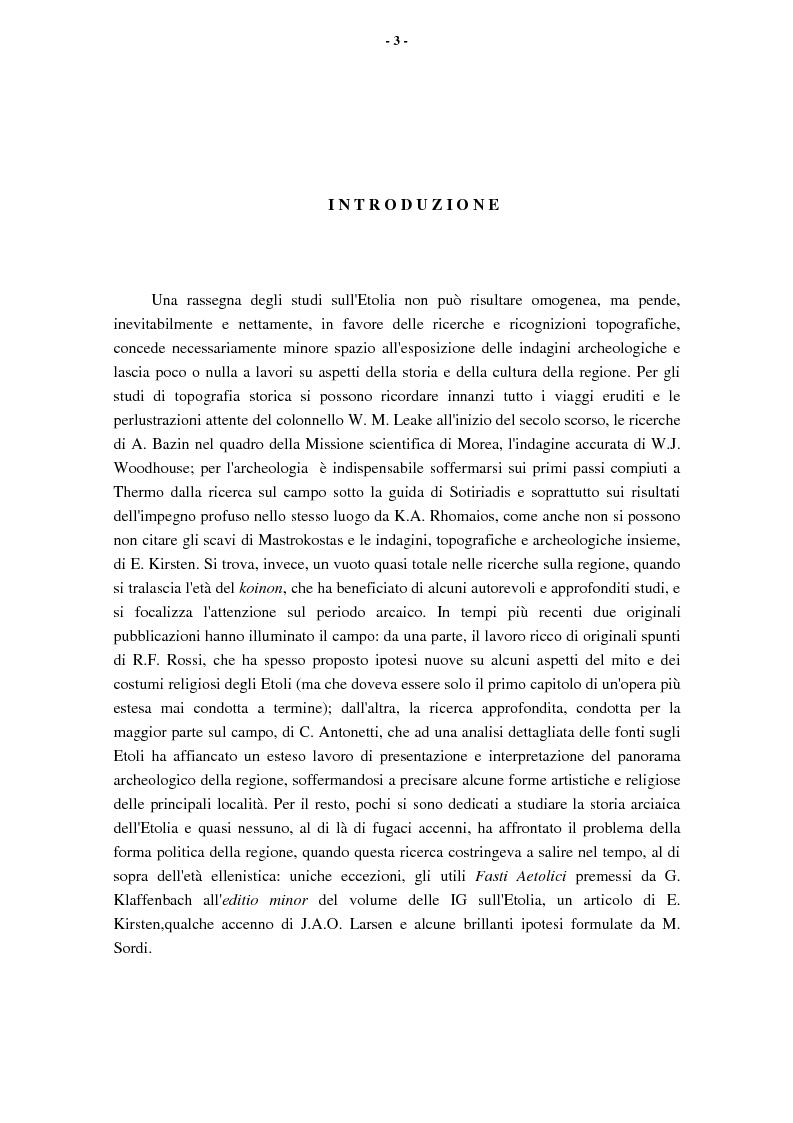 Anteprima della tesi: L'Etolia arcaica e il centro di Thermos, Pagina 1