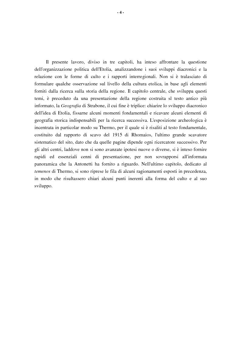 Anteprima della tesi: L'Etolia arcaica e il centro di Thermos, Pagina 2