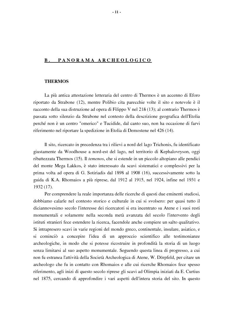 Anteprima della tesi: L'Etolia arcaica e il centro di Thermos, Pagina 9