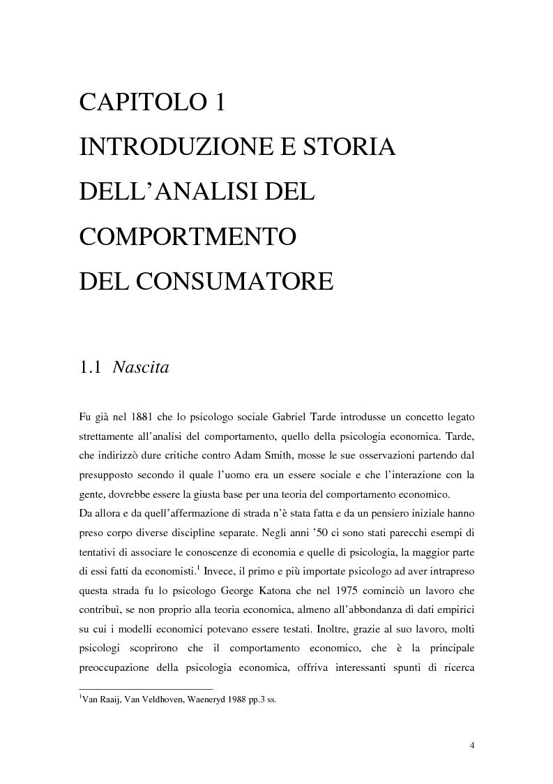 Anteprima della tesi: Il comportamento del consumatore, Pagina 1