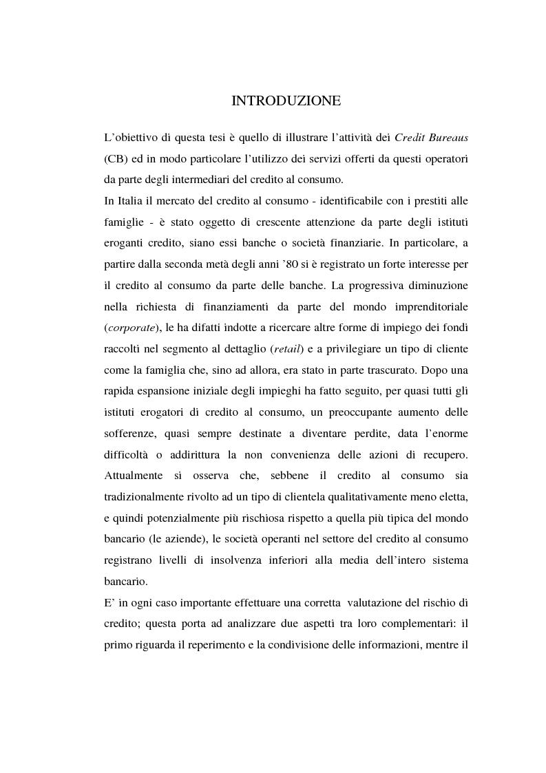 Anteprima della tesi: L'attività dei credit bureaus e la valutazione del rischio nel credito al consumo, Pagina 1