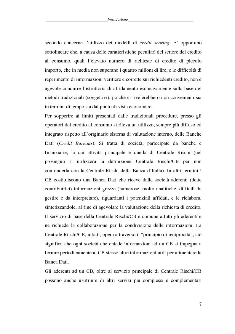 Anteprima della tesi: L'attività dei credit bureaus e la valutazione del rischio nel credito al consumo, Pagina 2