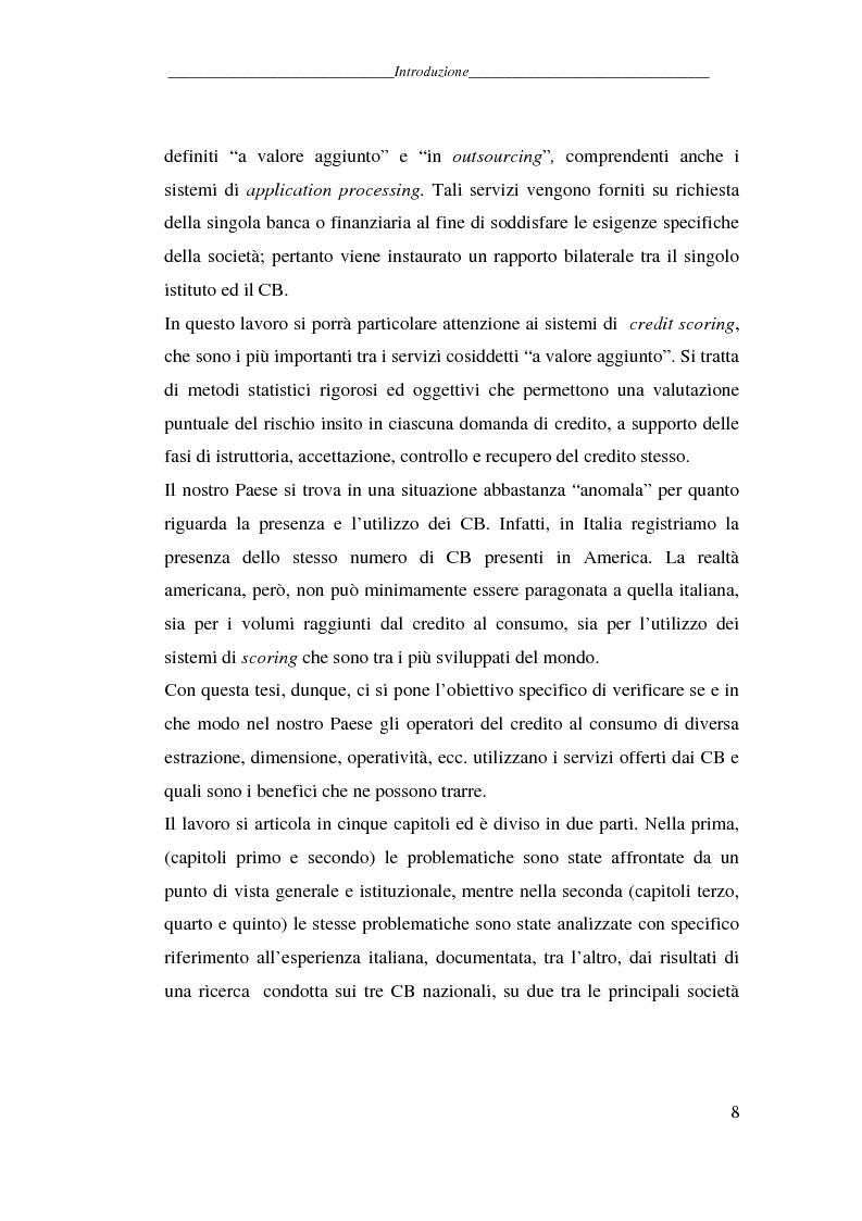 Anteprima della tesi: L'attività dei credit bureaus e la valutazione del rischio nel credito al consumo, Pagina 3