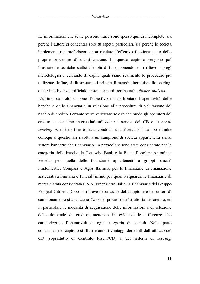 Anteprima della tesi: L'attività dei credit bureaus e la valutazione del rischio nel credito al consumo, Pagina 6