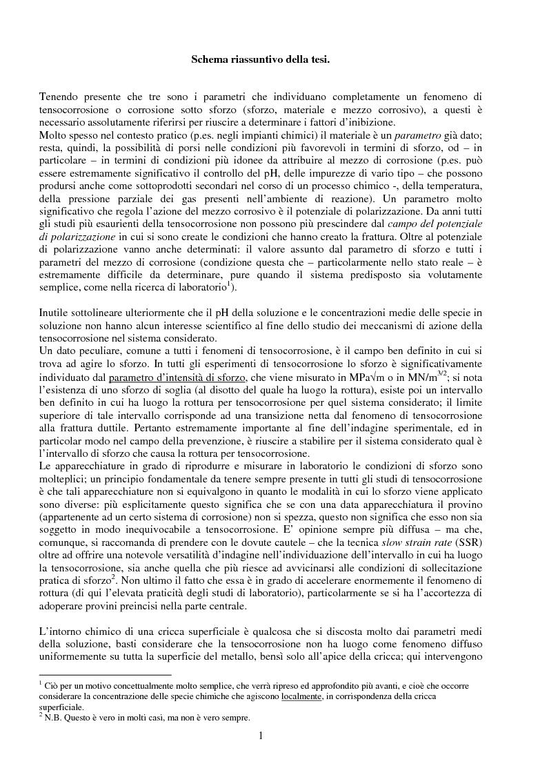 Anteprima della tesi: Corrosione sotto sforzo ed infragilimento da idrogeno negli acciai, Pagina 1
