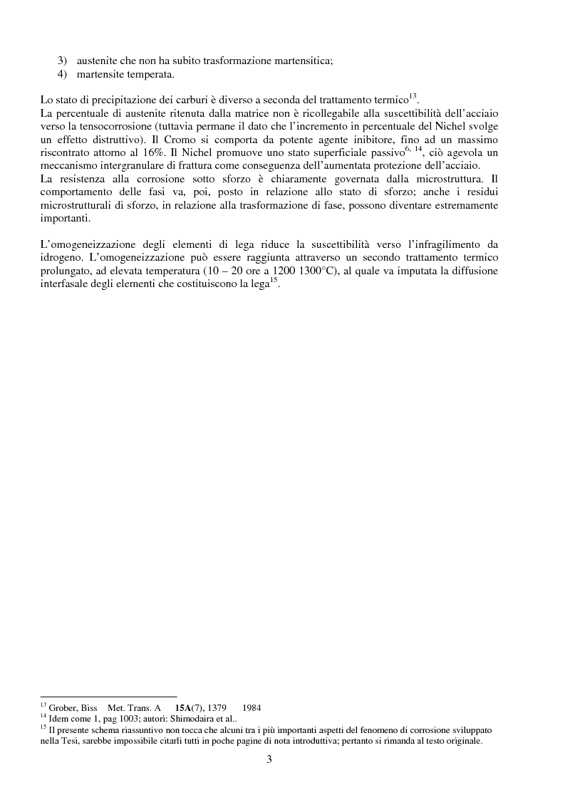 Anteprima della tesi: Corrosione sotto sforzo ed infragilimento da idrogeno negli acciai, Pagina 3