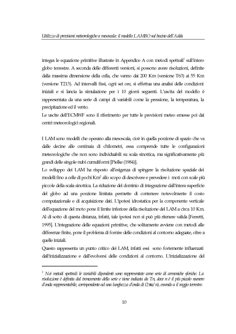 Anteprima della tesi: Utilizzo di previsioni meteorologiche a mesoscala: il modello Lambo sul bacino dell'Adda, Pagina 10