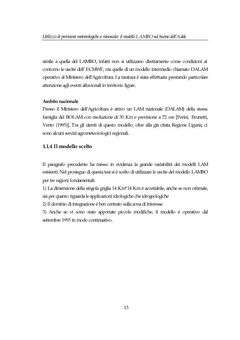 Anteprima della tesi: Utilizzo di previsioni meteorologiche a mesoscala: il modello Lambo sul bacino dell'Adda, Pagina 13